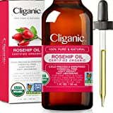 Cliganic USDA Organic Rosehip Seed Oil for Face, 100% Pure | Natural Cold Pressed Unrefined Non-GMO | Carrier Oil for Skin, H