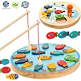 HOWADE Magnetic Alphabet Letter Wooden Fishing Game Learning Toy with Magnet Poles for Toddler Boys Girls Age 3+