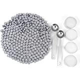 Silver Sealing Wax Beads, Yoption 300 Pieces Octagon Wax Seal Beads Kit with 2 Melting Spoon and 4 Candles for Seal Stamp (Si