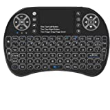 Backlit Mini Keyboard Touchpad Mouse, Mini Wireless Keyboard with Touchpad and Multimedia Keys for Android TV Box Smart TV HT