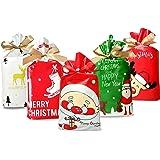 50 Pcs Christmas Candy Bag Christmas Treat Bags Candy Goodies Plastic Drawstring Gift Bags Merry Christmas Treat Bags for Bir