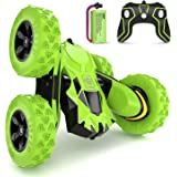SGILE Stunt RC Car Toy, Remote Control Vehicle Double Sided 360 Degree Rolling Rotating Rotation for Boys Kids Girls,Green