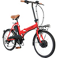 AIJYU CYCLE 折りたたみ電動アシスト自転車 パスピエ20R シマノ6段ギア 20インチ 5Ahリチウムイオンバッテリー 型式認定車両(TSマーク) (マットレッド)