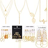 Necklace and Earring Jewelry Set with 24 Pairs Layered Ball Dangle Hoop Stud Earrings and 4 PCS Necklaces of Different Length