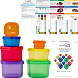 21 Day Portion Control Container Kit for Weight Loss -Labeled Meal Food Containers - 21 Day Tally Chart with e-Book (7 Piece
