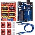Kuman 3Dプリンター CNCキット arduino用ボード CNCシールドV3+A4988ドライバ+ヒートシンク GRBL 0.9交換 実験用 電作キット K75