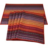 Red-A Hand Woven with 100% Cotton Placemats Colorful Placemats Braided Ribbed Durable Heat-Insulation Table Mats, Cotton, Rai