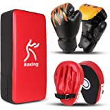 Odoland 3-in-1 Boxing Gloves Punching Mitts Kick Pack Set for Kids, Boxing Mitts Focus Pads, Taekwondo Kick Pad, Kids Boxing