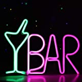 LED Bar Sign Neon Light USB Powered Green Cocktail Glass & Pink BAR Light Up Letter Advertisement Board Electric Display Sign