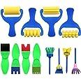 Kids Paint Brush, YGDZ 12 Pack Early Learning Mini Flower Sponge Painting Brushes, Washable Foam Roller Craft Sponge Paint Br
