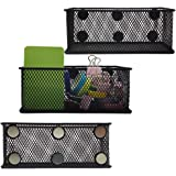 EASEPRES Magnetic Pencil Holder Set of 3 - Black Wire Mesh Storage Baskets Organizer with Strong Magnets - Perfect for Whiteb