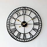ZHUOYUETT large 3D gear wall clock, retro Roman numeral wall clock, industrial decoration clock, French Roman retro wall cloc