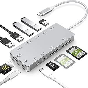 Woqatac USB Type C ハブ 11in1 USB C ハブ Type C ハブ USB C ドッキングステーション 4K HDMI出力 PD 充電対応 USB3.0 ハブ MicroSD/SDXC カードリーダー マイクロ タイプC HDMI 変換 アダプタNintendo Switch/SAMSUNG DEX対応/MacBook Pro/ChromeBook USB Type C デバイス対応 (シルバー)