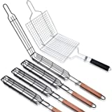 5 Pcs Christmas Portable Nonstick Kabob Grilling Baskets Set Stainless Steel BBQ Grill Accessories Kabob Grilling Baskets for