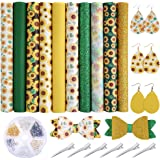 Caydo 10 Pieces Sunflowers Printed Faux Leather Sheet Include 3 Kinds of Leather Fabric with Earring Hooks, Hair Clips for Ma