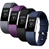 Fondenn Bands Compatible with Fitbit Charge 2 for Women and Men (4 Pack), Classic Adjustable Soft Silicone Sport Strap Wristb