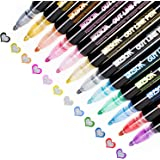 Double Line Outline Pens, Whaline 12 Colors Self-Outline Metallic Markers Glitter Writing Drawing Pens Stationery for Gift Ca