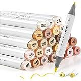24-Color Art Markers, Ohuhu Skin Tones, Dual Tip, Brush & Fine Sketch Marker, Brush Markers Bonus 1 Blender for Sketching, Ad