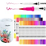 Ohuhu Art Markers Dual Tips Coloring Brush Fineliner Color Pens, 60 Colors of Water Based Marker for Calligraphy Drawing Sket