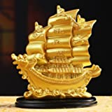 JSY Sailing Ship Statue Feng Shui Decor for Fortune, Wealth and Prosperity - Decorative Gold Wealth Sailing Boat Décor for Of