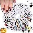 48 Sheets Halloween Nail Art Stickers Decals, Kalolary Halloween Water Transfer DIY Nail Decals Stickers Pumpkin/Bat/Ghost/Sk