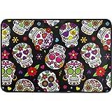 Kcldeci Day of The Dead Sugar Skull Doormat Indoor Door Mats 23.6 x 15.7 inch Skeleton Daisy Flower Floor Mats Entry Way Welc