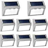 KASUN Solar Deck Lights, Super Bright LED Walkway Light Stainless Steel Waterproof Outdoor Security Lamps for Patio Stairs Ga