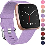 Maledan Replacement for Fitbit Versa Bands Women Men Large Small, Woven Fabric Accessories Strap Wrist Band Compatible with F