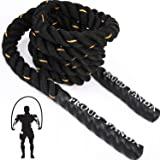 Heavy Jump Rope Fitness Adult Skipping Rope Workout Battle Ropes with Gloves for Men Women Total Body Workouts Power Training