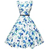 OVERMAL Women Vintage Floral Bodycon Sleeveless Casual Evening Party Prom Swing Dress 1950s O-Neck Vintage Rockabilly Swing E