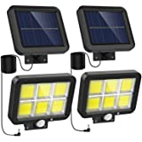 Solar Lights Outdoor Motion Sensor w/ 240 Bright COB LED, 16.4Ft Cable, 3 Lighting Modes, Adjustable Solar Panel. Wired Secur