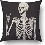 Emvency Pillow Covers Decorative Human Skeleton Posing Isolated Over Black Bulk with Zippered 16x16 Square Pillow Case for Ho