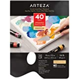 ARTEZA Disposable Palette Paper Pad, 9X12 Inch, 40 White Sheets, 54 Lb, Glue-Bound, Bleed-Proof Paint Palette with Thumb Hole