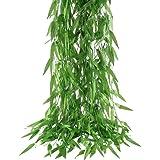 Hogado 50pcs 375 Feet Artificial Vine Greenery Garland Faux Silk Willow Rattan Wicker Twig Fake Garden Wedding Festival Windo