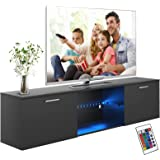 Advwin TV Unit Cabinet, 160cm Length Wooden TV Cabinet, Modern RGB LED TV Console Table with Drawers, Entertainment Unit TV S