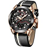 Mans Watch Waterproof Sports Quartz-SUNVEN Watches for Men Water Resistant 30M Black Leather Strap Chronograph and Calendar M