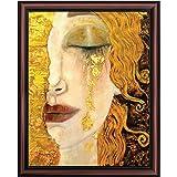 Crossroads Home Décor Golden Tears by Gustav Klimt Framed Wall Art Print, Wonderful Living Room or Office Wall Decor, Modern