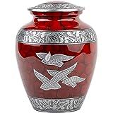 INTAJ Royal Silver Cremation Urn for Human Ashes - Adult Funeral Urn Handcrafted - Affordable Urn for Ashes - Large Urn Deal