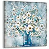 Bedroom Decor Canvas Wall Art Framed Wall Decoration Modern Gallery Wall Decor Print White Flower in Blue Bottle Theme Pictur