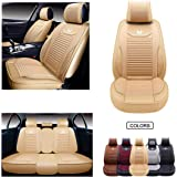 Oasis Auto OS-008 Leather&Cloth Universal Car Seat Covers Automotive Vehicle Cushion That Fits All Sedan Most SUV and Small P