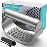 Garlic Press Rocker, Stainless Steel Garlic Crusher Garlic Mincer Presses and Ginger Press Squeezer with Silicone Tube Garlic