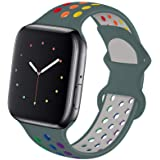 Hotflow Compatible with Apple Watch Band 42mm 44mm,Soft Silicone Sport Wristband for iWatch Series 6, Series 5, Series 4, Ser