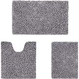 HOMEIDEAS Microfiber Absorbent Bath Rug, Chenille Washable Floor Mat -Non Slip Soft Carpet Modern Deep Gray