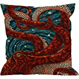 HGOD DESIGNS Kraken Pillow Case, Sea Monster Octopus Cotton Linen Cushion Cover Square Standard Home Decorative Throw Pillow