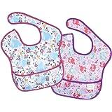 bumkins(バンキンス) ディズニーコラボビブシリーズ 油が落ちるスタイ2枚セット【日本正規品】スーパービブ 柔らかくて軽量 洗濯機で洗えてすぐ乾く お食事用防水ビブ 6~24ヶ月 Princess(パープル) 2個 (x 1) BM-S2DPR
