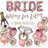 Bachelorette Party Decorations Kit, Bridal Shower Supplies - Bride Balloon, Bride to Be Sash, Ring Foil, Champagne Foil, Hear