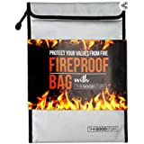 Fireproof Document Bag (2000℉), Protect Important Documents, Fireproof Bags (Extra Strength), Waterproof and Fireproof Docume