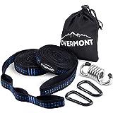 Overmont ハンモックベルト ハンモックストラップ 2本セット (長さ300cm ノード18個 耐荷重量800kg) 専用収納バッグ付き キャンプ アウトドア用 ハンモックチェア吊り具付き 無期限保証