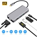 USB C Type C ハブ 5in1 USB C to HDMI VGA 変換アダプタ HDMI 4K解像度 VGA 60HZ 同時表示可 Type C PD充電ポート USB 3.0*2 高速転送 Thunderbolt 3 アダプタ MacBook、Macbook Pro 2018/2017/2016、Samsung Galaxy S9/S8、Huawei P20/P30 対応