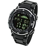 [ラドウェザー]ダイバーズ腕時計 タイドグラフ 100m防水 デジタル時計 (ブラック(反転液晶))